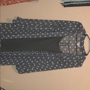 Gap  grey polka dot button down dress with slip